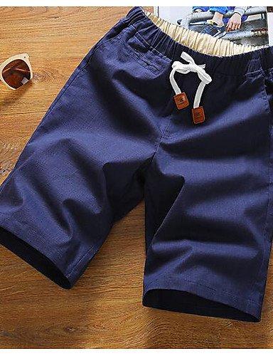 Da uomo A vita medio-alta Semplice Media elasticità Pantaloncini Pantaloni,Dritto Tinta unita Khaki