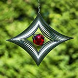 Natural Fun Windspinner 30 cm gross, dekoratives Windspiel Silver Star, Edelstahl, silber mit roter Kugel