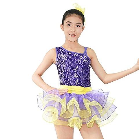 MiDee Ballett Ballettröckchen Kostüm Diagonal-hals Pailletten Tanz Kleid Leotard (Violett, LC) (Freestyle Disco-tanz Kostüme)