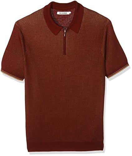 Ben Sherman Tonic Zip, Polo Uomo, Orange (Dark Rust), Large