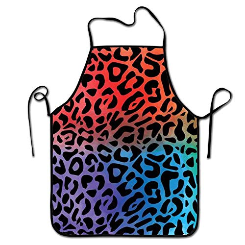 fengxutongxue Colorful Leopard Pattern Kitchen Aprons Long Tie Adjustable Bib Apron Adult's Aprons for Cooking Baking Griling -