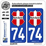 blasonimmat 2 Autocollants Plaque immatriculation Auto 74 Haute-Savoie - l'Authentique