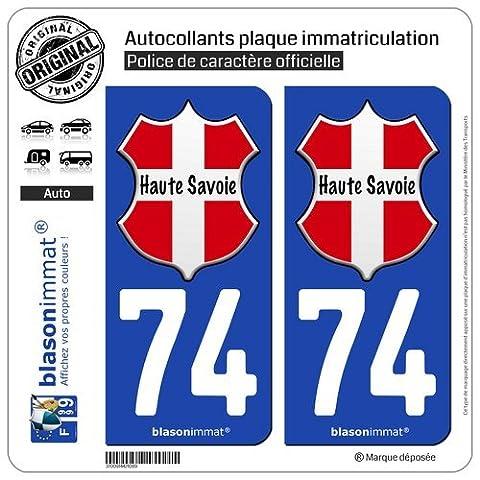 2 Autocollants de plaque d'immatriculation auto 74 Haute-Savoie - l'Authentique