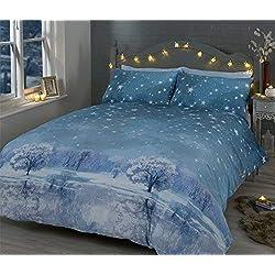 Weihnachten Nacht Sterne Bäume Schnee Blaue Baumwolle Mischung Doppelbett Bettwäsche