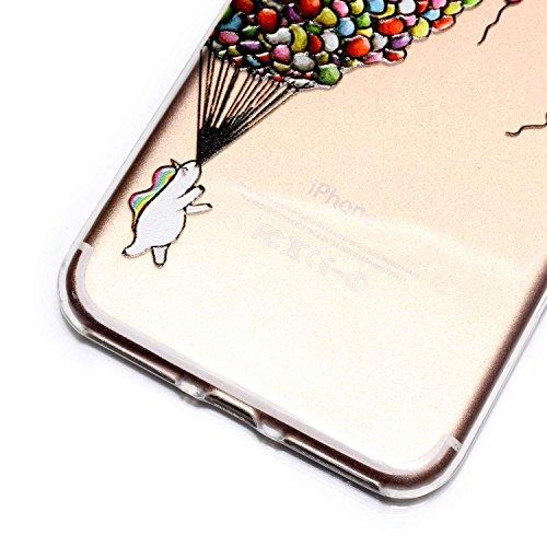 iPhone 7 Plus Hülle, iPhone 7 Plus Hülle Transparent, iPhone 7 Plus Hülle TPU Case Schutzhülle Silikon Case, Cozy Hut ®[Liquid Crystal] 3D Romantik Flower Animal Cartoon Series Transparent Weiche Sili Ballon