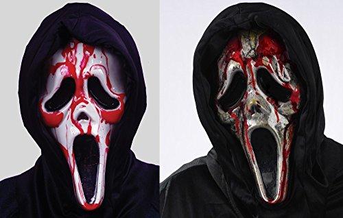 Ghost Face Scream - Blutende Zombie Maske mit Pumpe Halloween blutig Horror, Farbe:Weiß