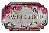 Hamat Alfombra de Entrada Eco Master para Interior y Exterior Goma reciclada, diseño de Flores Welcome, 45x 75cm