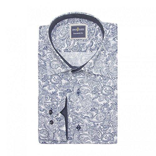 Herren Vintage-Retro-Stil, mit Motiv MOD Paisley-Hemd, Gr. S-4XL Schwarz - Blue White - FF7