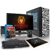 Fierce Phoenix RGB Gaming PC Bundeln - Schnell 4 x 3.7GHz Quad-Core AMD Ryzen 3 1300X, 2TB Seagate FireCuda Solid State Hybrid Drive, 16GB von 2133MHz DDR4 RAM / Speicher, AMD Radeon RX 550 4GB, Gigabyte AB350-GAMING Hauptplatine, CiT Dark Star RGB Computergehäuse, HDMI, USB3, Wi - Fi, Perfekt für Wettkampfspiele, Windows 10 installiert - Tastatur (VK/QWERTY), Maus, 21.5-Zoll-Monitor, Lautsprecher, 3 Jahre Garantie 531877