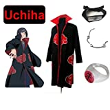 Cosplay de Traje para cosplay Naruto Akatsuk Ninja Uchiha Itachi Set--manto (XL: Tamaño 177cm-184cm) + Itachi Uchiha Ninja diadema + collar + anillo