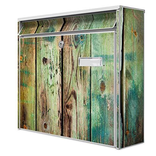 Burg Wächter Design Briefkasten | Postkasten 36 x 32 x 10cm groß | Stahl weiß verzinkt mit Namensschild | großer A4 Einwurf, 2 Schlüssel | Motiv Grünes Holz