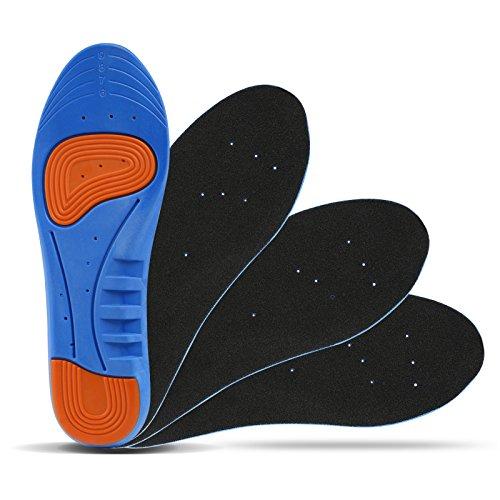 LIHAO 2 Pares de Plantillas Zapatos Unisex Plantillas Gel Deportivas(Azul y Naranja)(EU38-42)