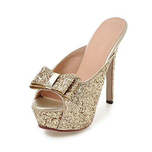 La signora della modaSandali tacco alto/paillettes fiocco pantofole/Sandali tacco alto C