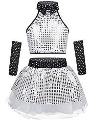 Abbigliamento sportivo YiZYiF Uniforme da Cheerleading Costume del Ventre per Bambini 3 PCS Canotta+Gonnellino+Alte Calze Outfits Minivestito Scuola Media Studentessa Dancewear Spettacolo 5-14 Anni Abiti