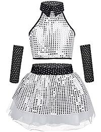 1c702e6922b YOOJIA Enfant Fille Jazz Hip-hop Ballet Fille Costume Danse Latine Emsemble  Paillettes Brillantes Tutu Jupe à Pois…