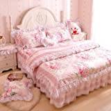 Best FADFAY Beddings - FADFAY,Romantic Flower Print Bedding Set,Floral Bed Set,Princess Lace Review