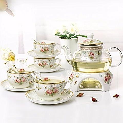 HQLCX jasmin - tee, europ?ischen stil des keramik - heizung glas tee, nachmittagstee, blumen und obst (Jasmin Ein Griff)