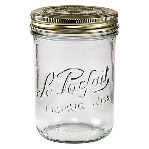 Le Parfait Familia Wiss Terrinen–breit Mund Französische Glas Mason Einweckgläser, Zero Abfall Verpackung fein 750ml - 24oz - Pint & Half farblos