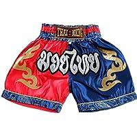 Nakarad Pantalones Cortos de Muay Thai para niños (2-10Años) (Rojo/Azul, S(7-8Años))