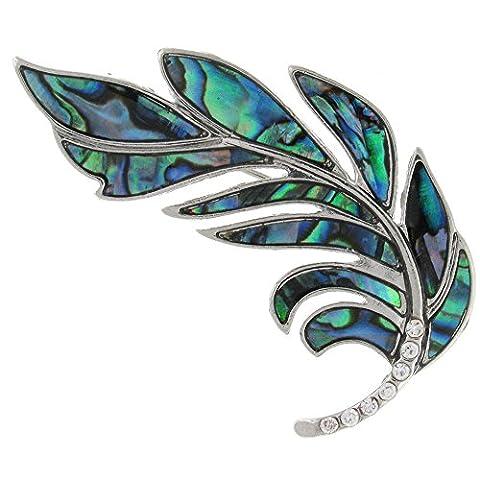 PYNK Jewellery Paua Abalone Vert Transparent Cristal Coque et broche en forme de plume