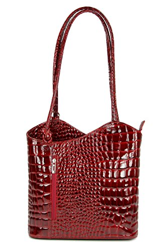 Belli ital. Ledertasche Backpack 2in1 Rucksack Handtasche Schultertasche - Freie Farbwahl - 28x28x8 cm (B x H x T) (Bordeaux lack II)