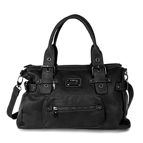 moderne Handtasche Jennifer Jones Damen Tasche Tragetasche Shoppertasche bag (Schwarz) (Leder Schwarz London-hunter)