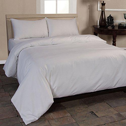 Homescapes 2-teiliges Bettwäsche-Set - 100% Bio-Baumwolle, Fadendichte 400 Perkal - Bettbezug 155 x 220 cm mit Kissenbezug 80 x 80 cm - weiß - Klassische Farben Perkal Bettwäsche