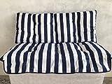 RICAMBIO COMPLETO DI TETTUCCIO PER DONDOLO 3 POSTI (cm 135)RIGATO BIANCO BLU immagine