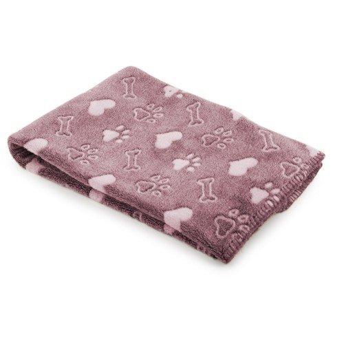 Ancol - Manta con estampado de huellas para perro (Talla Única/Rosa)