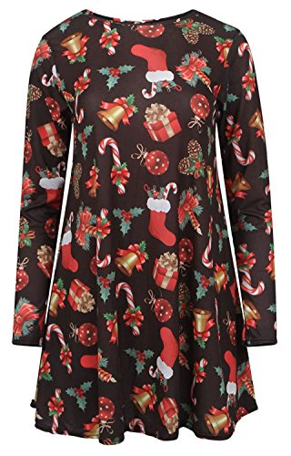 Chocolate Pickle ® Damen-Sankt-Schneemann X-mass Olaf Print Flared Swing-Kleid Black X Mass Gift