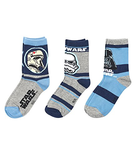 Star Wars-The Clone Wars Darth Vader Jedi Yoda Jungen 3 er Pack Socken - grau - 31-34