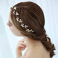 Simsly Vines capelli sposa fasce con foglie accessori per spose e damigelle  (oro). 8a03dab6677c