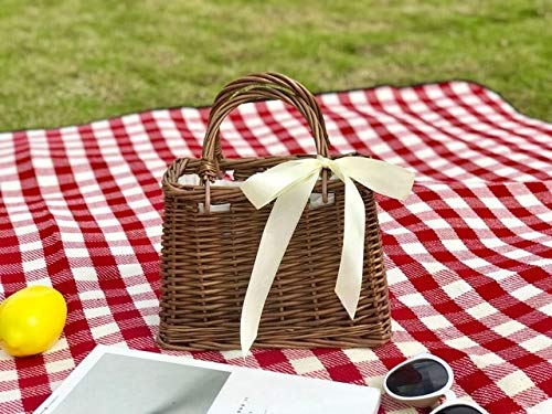 Romantic-Z Sommer Band Tragetaschen für Frauen 2019 Handtaschen Frauen Taschen Designer Berühmte Marke Damen Rattan Strandtasche Wicker Straw Bag, Dark Brown - Brown Wicker