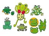 Mono-Quick Bügelbild, Aufbügelbild, Aufnäher, Patch, Applikation, Aufbügelbilder Frösche Set, 6 teilig, Froschmotive 5, 0 x 4, 0 cm bis 7, 5 x 12, 5 cm Filz, Satin, Stickerei