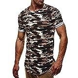 VEMOW Sommer Mode Persönlichkeit Camouflage Männer Tägliche Arbeit Casual Slim Kurzarm-Shirt Top Bluse Pullover (Grau, EU-52/CN-M)