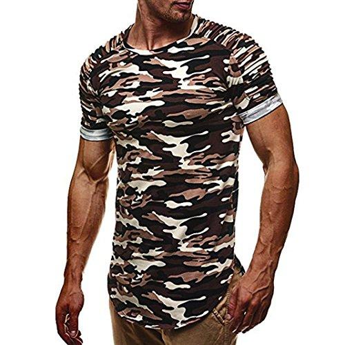 VEMOW Sommer Neue Design Mode Persönlichkeit Camouflage Männer Tägliche Arbeit Casual Slim Kurzarm-Shirt Top Bluse Pullover für Vatertag Geschenk(Grau, EU-52/CN-M)