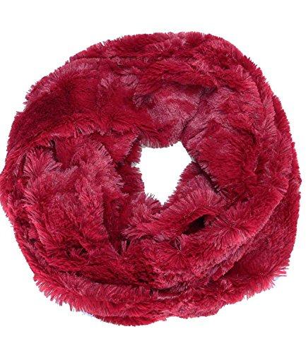 fake fur schal Caripe kuschliger Damen Winter Loop Schal edles Fell Imititat - plue (dunkelrot - new)