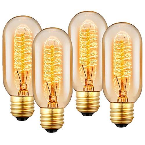 (Vintage Retro Edison Glühbirne, E27 Glühlampe 40W 220V-240V, Antike Glühlampe, Dimmable, Retro Lampe für den Haushalt dekorative Beleuchtung - 4 Stück)
