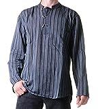 Fischerhemd Kurtha Gestreift Überzieher Hemd Poncho Mittelalter Nepal, Größe:M, Farbe:Black / Schwarz