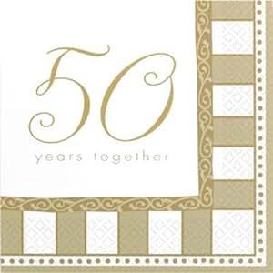 16 petites serviettes noces d'or 24.7 x 24.7 cm en papier 2 plis anniversaire de mariage [509099]