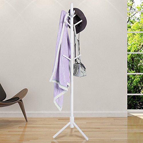 GOTOTOP Porte-Manteau Design Arbre sur Pied 9 Crochets et 3 Niveaux pour Entrée, Couloir, Foyer, Bureau (Blanc)