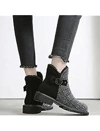 Sra. Invierno Zapatos de Algodón de Moda Salvaje Más Botas de Terciopelo Hembra Martin Botas Botas de Nieve Femenina,Negro,37