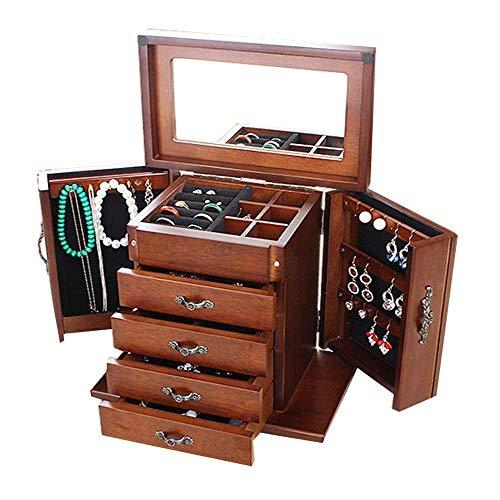 Renjianfeng scatola portagioie, vintage a 6 strati per donna, custodia a specchio con cassetti estraibili con serratura, ideale per collane, anelli, orecchini