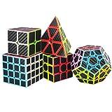 TOYESS Rompecabezas Cubo Magico Puzzle Set, Pyraminx Piramide,Megaminx Dodecaedron,Speed Cube 4x4x4,3x3x3,2x2x2 Cubo de Fibra de Carbono Cubo de Velocidad Cajas de Regalo Set para Adulto Niños,Negro