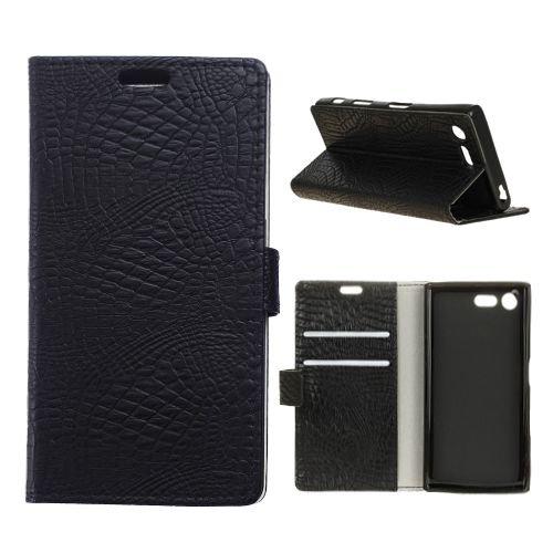 jbTec® Flip Case Handy-Hülle zu Sony Xperia XZ1 - BOOK Muster Krokodilleder-Optik #M34 - Handy-Tasche, Schutz-Hülle, Cover, Handyhülle, Bookstyle, Booklet, Farbe:Schwarz (Aus Kartenfächer Krokodilleder)