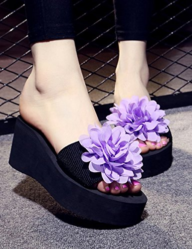 Sommer-Mode-Piste mit Muffin-Pantoffeln High-heeled Frau mit hochhackigen Schuhen Urlaub Strand Hausschuhe ( Farbe : A , größe : EU40/UK7/CN41 ) E