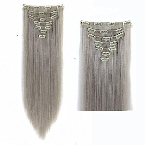 61 cm soyeux droite tête complète Extensions en cheveux synthétiques Gris clair 130 g 7 pièces/lot
