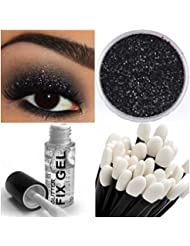 Stargazer Glitter Eyeshadow Fixing Gel   Glitter Eye Shadow   Wand Makeup for Eyes Face Body (Glitter Black)