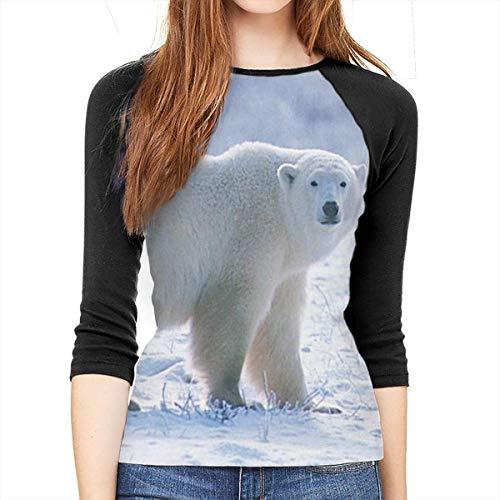 Henrnt Damen Bluse 3/4 Arm T-Shirt Bluse Top Cute Polar Bear Print T-Shirt Casual Crew Neck Tops Tee