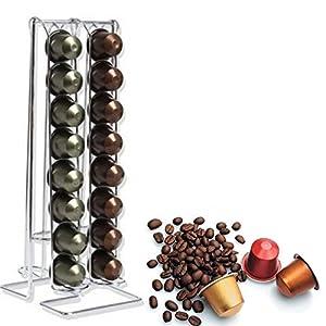 Ducomi® Arabica - Portacapsule Salvaspazio in Acciaio - Dispenser per 32 Cialde Nespresso e Compatibili - Supporto…
